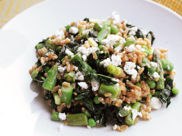 Warm Farro Salad with Asparagus, Peas and Feta