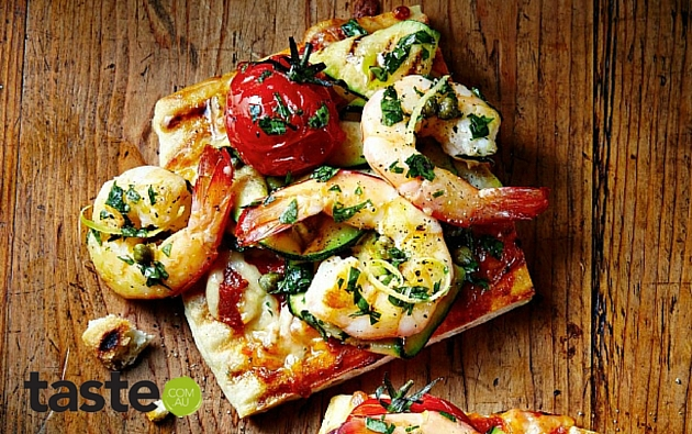 Barbecue Prawn & Salsa Verde Pizza