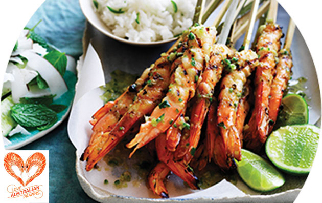 Lime and Lemongrass BBQ Skewered Prawns